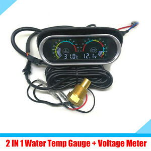2 IN 1 LCD Car Dashboard Water Temp Gauge + Voltage Voltmeter + 10mm Sensor 12V