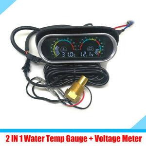 2 IN 1 LCD Car Dashboard Water Temp Gauge + Voltage Voltmeter + 10mm Sensor 12V