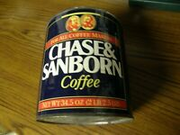 4411) Vintage Chase & Sanborn Metal Coffee Tin No Lid 2 lb, 2.5 oz