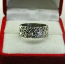 Beautiful Heavy 18ct White Gold Patterned Wedding Ring Size P