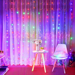 300 LED Curtain Fairy Lights B String Light With Remote Xmas Party Wedding