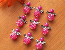 9x Strong Pink Handmade Angel Fairy Charm Pendant Beads Shambala Style