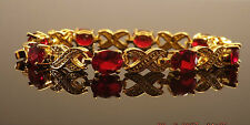RED AMETHYST YELLOW GOLD GP TENNIS BRACELET FASHION JEWELRY 7.25 INCH [304]