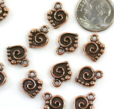 Spiral Heart Charms, TierraCast Charms, Copper Plated, 4 Pieces, 7418