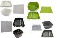 Set of 3 Plastic Washing up Bowl Large Dish Drainer Drainage Mat Kitchen Rack