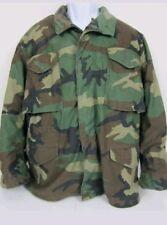 US Army Woodland Camouflage Cold Weather Field Coat Jacket MEDIUM Long BDU EUC