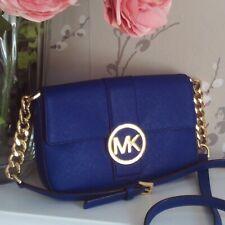 Michael Kors Fulton Sapphire Blue Saffiano Leather Crossbody Bag Chain Details