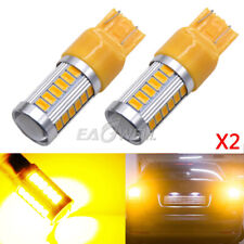 2x T20 Yellow 7443 7440 5630 33-SMD LED Dome Map Car Backup Reverse Lights Bulbs