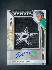 20-21 JASON ROBERTSON UD Black Diamond Logo Jumbos Patch AUTO Rookie #'d 3/49