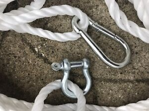 50FT OF NEW 10MM ROPE WHITE ANCHOR BOAT MOORING WITH 10MM SNAP HOOK & SHACKLE B