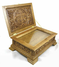 Large Russian Orthodox Wooden Reliquary box Made From Oak Unique Carved Work