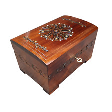 WOODEN JEWELLERY CHEST 15 CM LONG, LOCK AND KEY IN BROWN COLOR