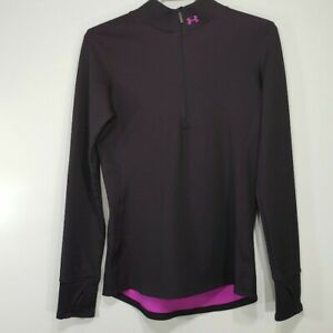 Under Armour Womens Top Small S No Size Tag Purple Long Sleeve Fleece 1/4 Zip