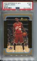 2003 Bowman Basketball GOLD 123 Lebron James Rookie Card Graded PSA Nr Mint 7