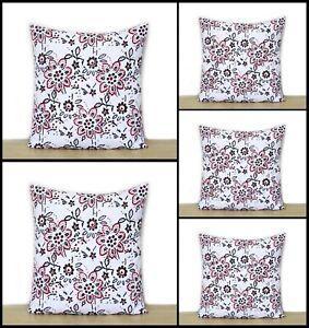 "Indian Cotton 16"" Square Sofa Cushion Cover Throw Floral Print Pillow Case Set-5"