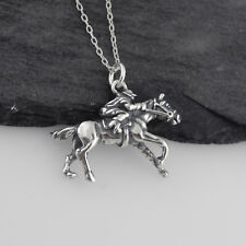 Race Horse with Jockey Necklace - 925 Sterling Silver - Racing Racetrack Gamble