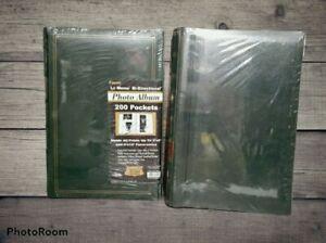 "Pioneer Vintage 2 Photo Albums Bonded Leather Green 4""x6"" 4x12 Scrapbook Ephemer"