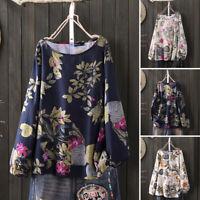 100% coton Femme Chemise à Imprimé floral Manche Longue Col Rond Haut Shirt