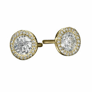 3 1/4 Carat Solitaire Diamond Stud Earrings Round Cut F/SI1 14K Yellow Gold