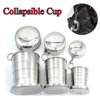 Stainless Steel Camping Folding Cup Portable Travel Collapsible Mug Keychain