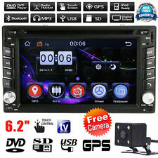 "GPS Navi 6.2"" 2 DIN Car Stereo CD DVD Player Bluetooth Radio iPod MP3 TV +Camera"