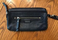 Coach Daisy Leather Double Zip Wristlet Wallet Navy Blue F49397  W31