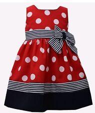 Bonnie Jean Toddler Girl's Nautical Polka Dot Dress-2T-Red, White & Blue