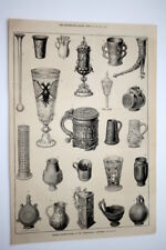 ILLUSTRATED LONDON NEWS OCT. 1873, ANCIENT DRINKING VESSELS, INT'L EXHIBITION