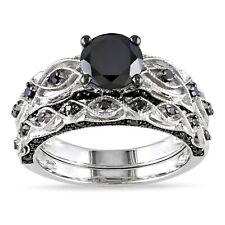 Black Diamond Pure 10k White Gold Wedding Band Set Women's Engagement Ring