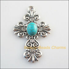 2 New Charms Flower Cross Crystal Turquoise Tibetan Silver Pendants 38x60mm