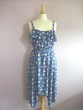 George Size 14 Blue Pink + Yellow Floral Dipping Hem Strappy Sun Dress + Sash