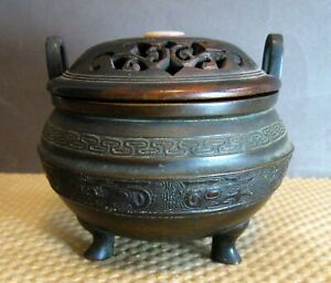 Antique Chinese (Japanese?) bronze censer, tripod incense bowl, wood lid, MoP