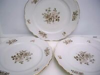 "3 BAVARIA GERMANY ""DAWN ROSE"" DINNER PLATES  10 1/4''"