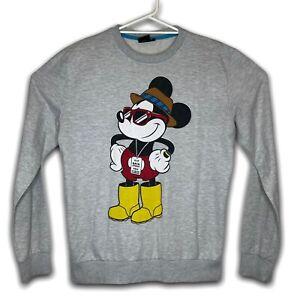VTG Disney Mickey Mouse Mens Grey Sweatshirt Pullover Jumper Size L
