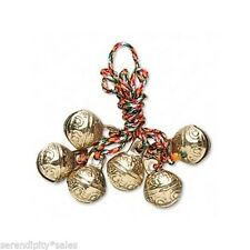 6 Textured Brass Bells on Braided Cord for Wind Chimes / Home Decor 30mm ~ India