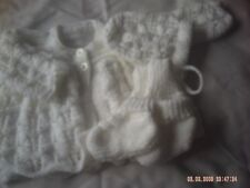 Hand Knitted White Baby Cardigan/Coat With Hat, Mitts And Socks Size 3-6 Months