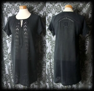 Gothic Black Cotton Embroidered PENITENT Tunic Dress 10 12 Vintage Witchy Boho