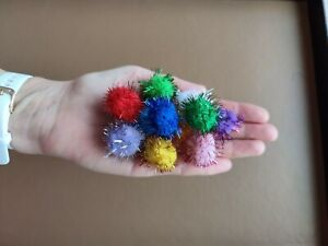Cat Toy Pom Pom Tinsel Balls 2.5 to 2.7cm Various Amounts 1st or 2nd Class Post