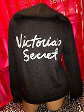 Victorias Secret Supermodel Hoodie White Sequin Charcoal Gray Small