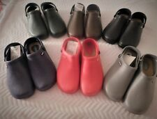 Clogs for medical waitress, gardening, wet weather casual with jeans, Dark color