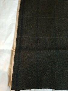 "Vintage Windowpane Brown 100% Wool Light Garment Fabric 60W ""x 40 ""L EVC"