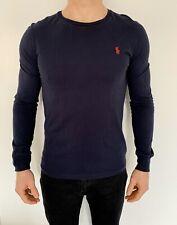 Ralph Lauren Long Sleeve T Shirt Small Navy Mens Cotton Smart Casual Vintage
