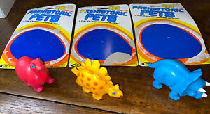 3 Playmates Vintage Wind Up Prehistoric Pets Dinosaurs 1987 Toys Complete Set