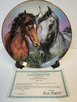 """""""Love Conquers All""""  Horse Danbury Mint Limited Collectors Plate with 23Kt Gold"""