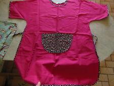 B4 tablier vintage couleur pétillante rose  fleur poche