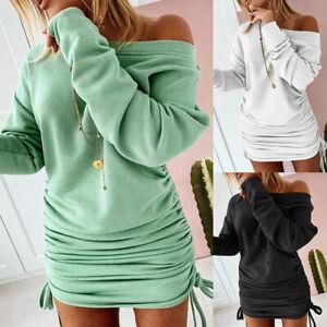 Damen Schulterfrei Minikleid Pulloverkleid Sweatshirt Longpulli Jumper Langtop