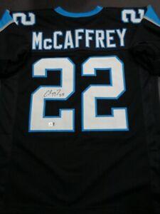 Christian McCaffrey Autographed Panthers Black Custom Football Jersey - GA COA