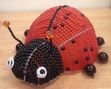 BEADWORX ~ CHILDRENS RED LADYBUG ANIMAL BEDROOM NIGHT LAMP SHADE  ~ BEAD WORK