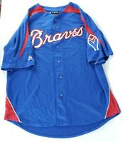 Atlanta Braves Majestic Cooperstown Collection Blue MLB Baseball Jersey L Large