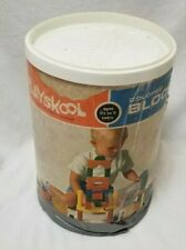 1960 PlaySkool Can Of Blocks 645 Complete+More Creative Multi Color Play Blocks